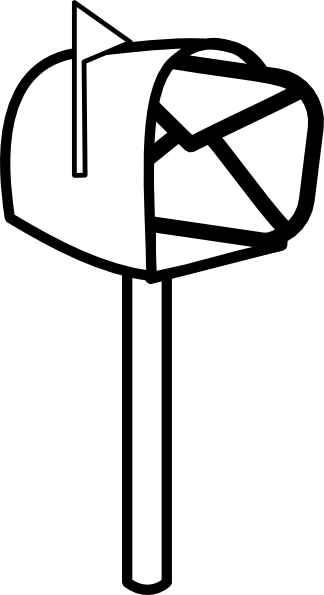 Open mailbox clipart black and white.