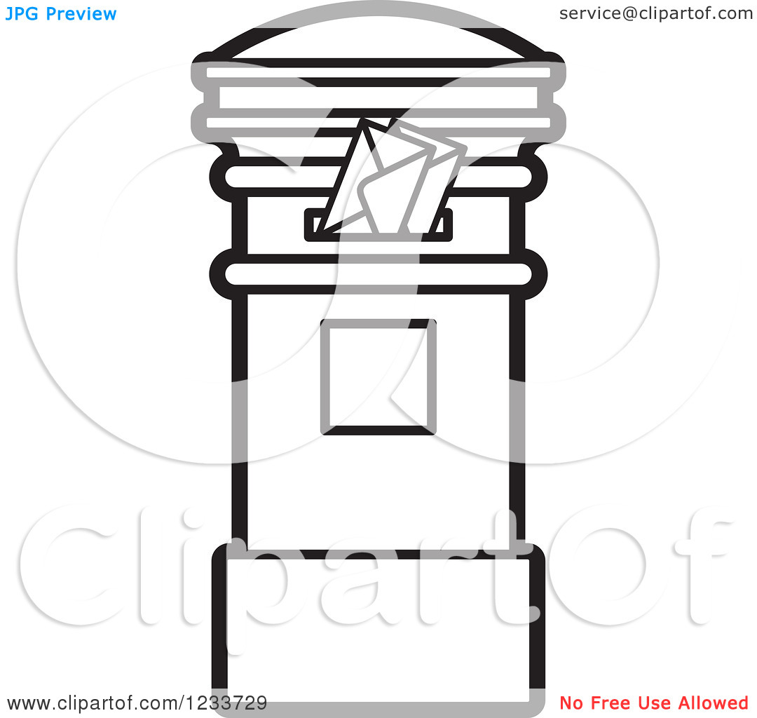 Clipart of a Black and White Mailbox with Envelopes.