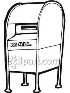 Box mail clipart black and white.