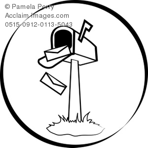 Black and White Clip Art Illustration of an Open Mailbox.