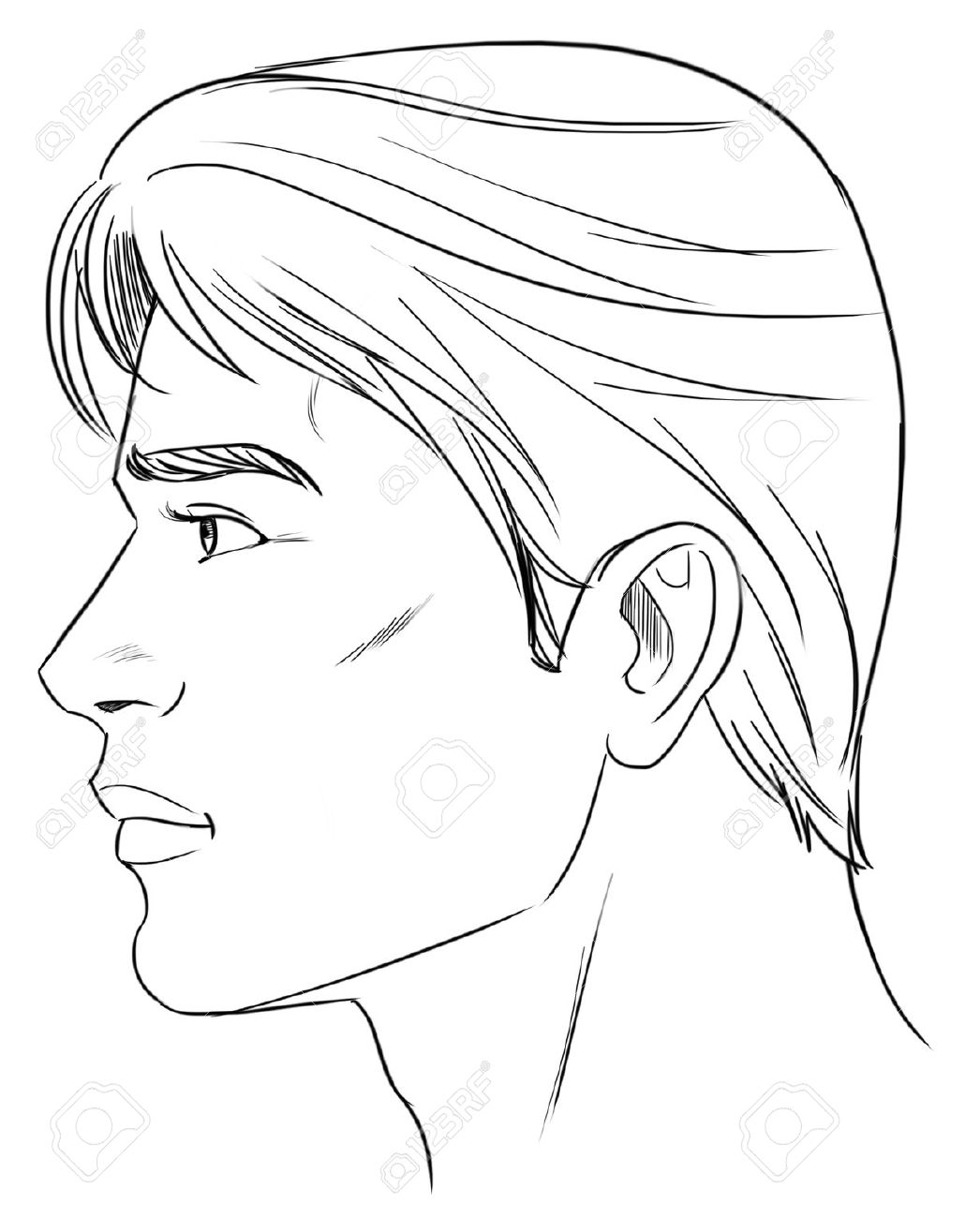 Line Drawing Male Face : Black man clipart side face clipground