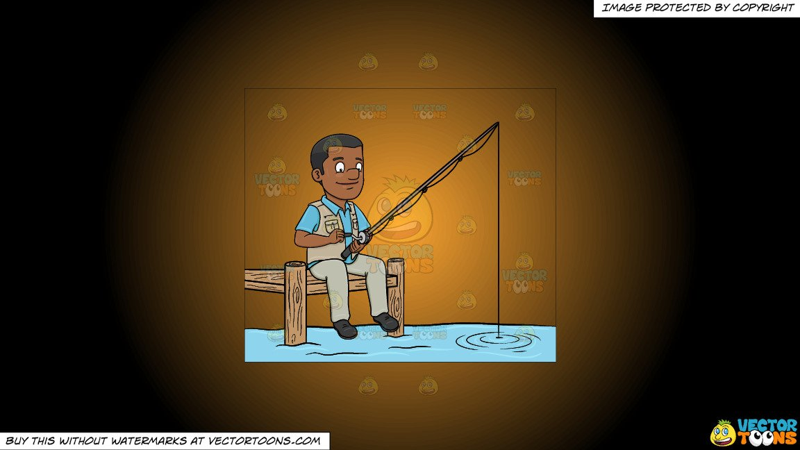 Clipart: A Black Man Patiently Waiting To Catch A Fish on a Orange And  Black Gradient Background.