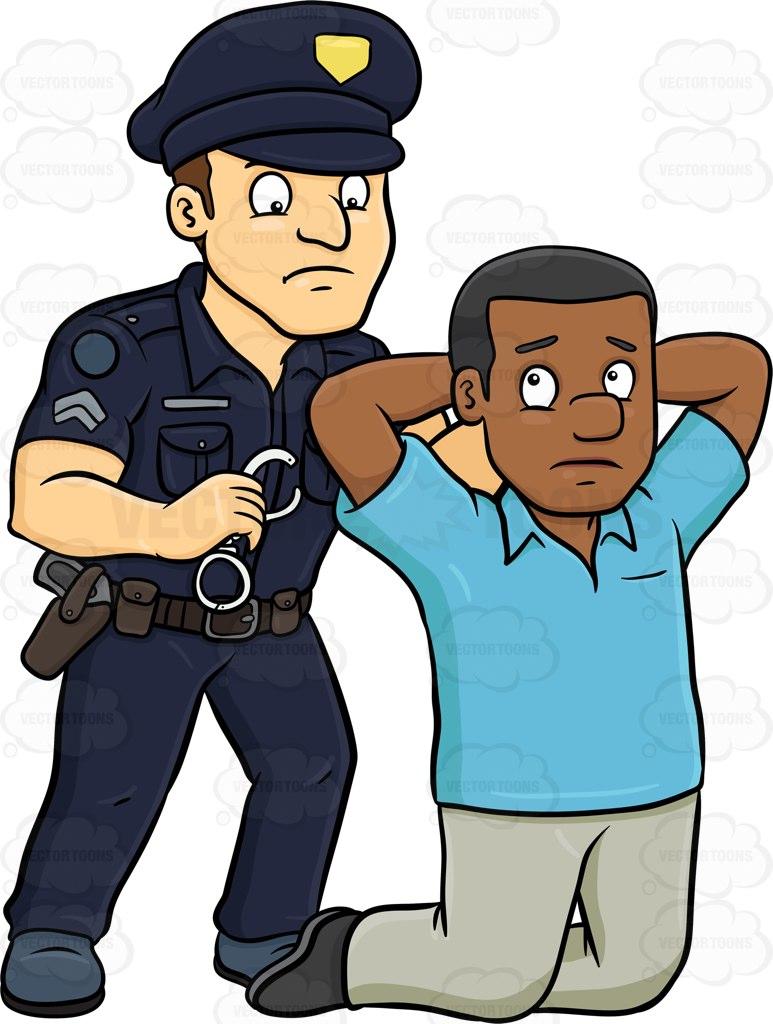Black Man Getting Arrested Clipart.