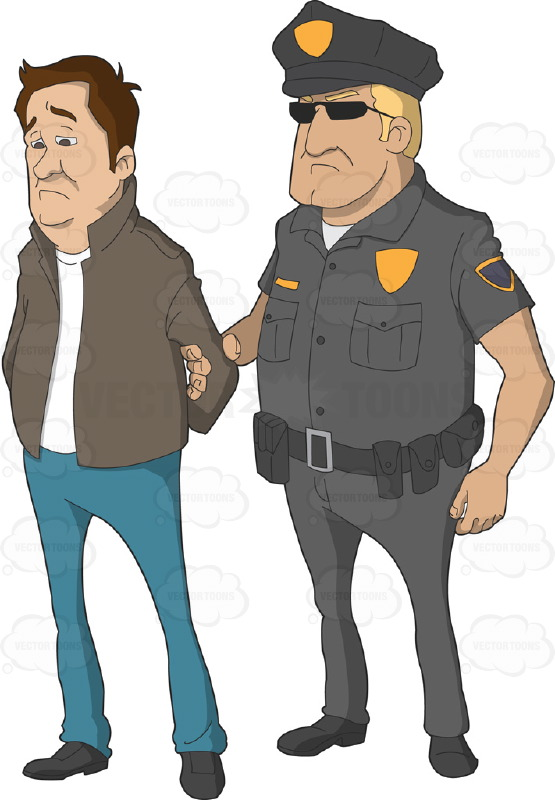 Showing post & media for Cartoon man being arrested.