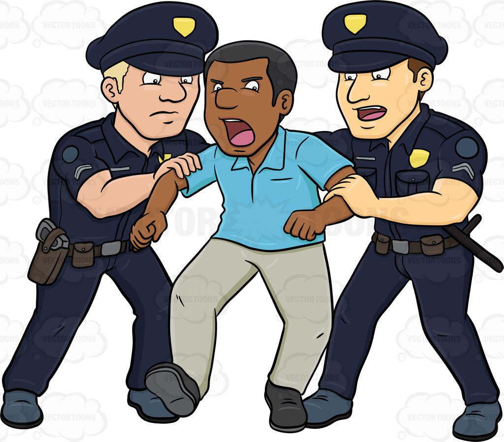 Policemen Trying To Stop A Rioting Black Man.