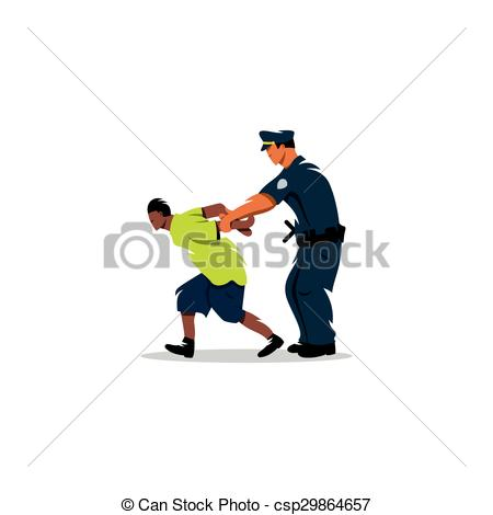 Clipart Vector of White police arrested a black man. Justice in.