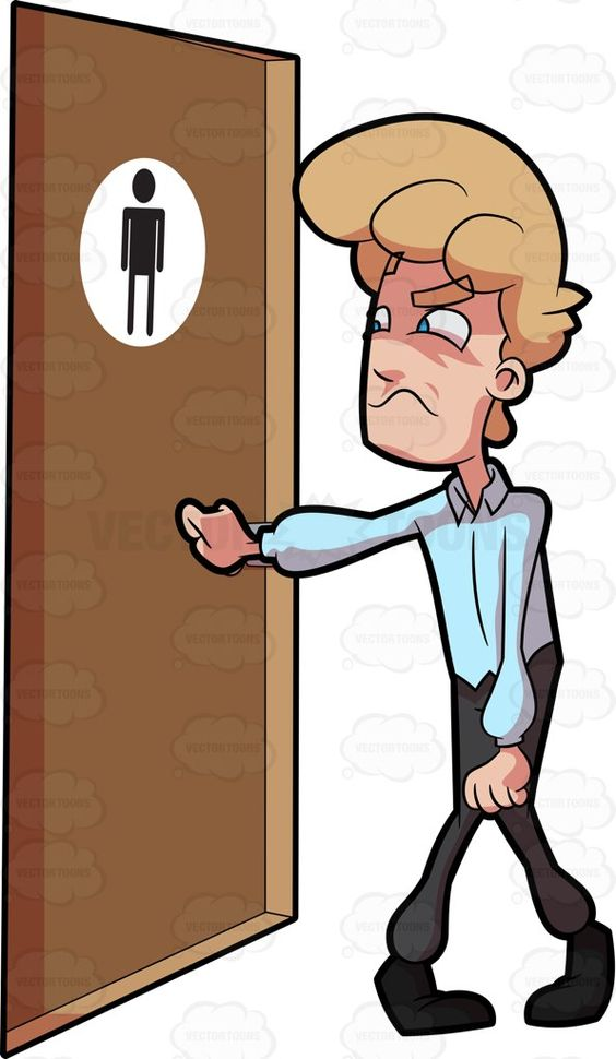 A Frustrated Man Knocking On A Restroom Door.
