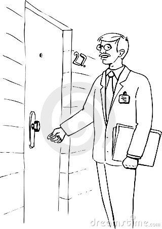 Man Knocking On Door Clipart.