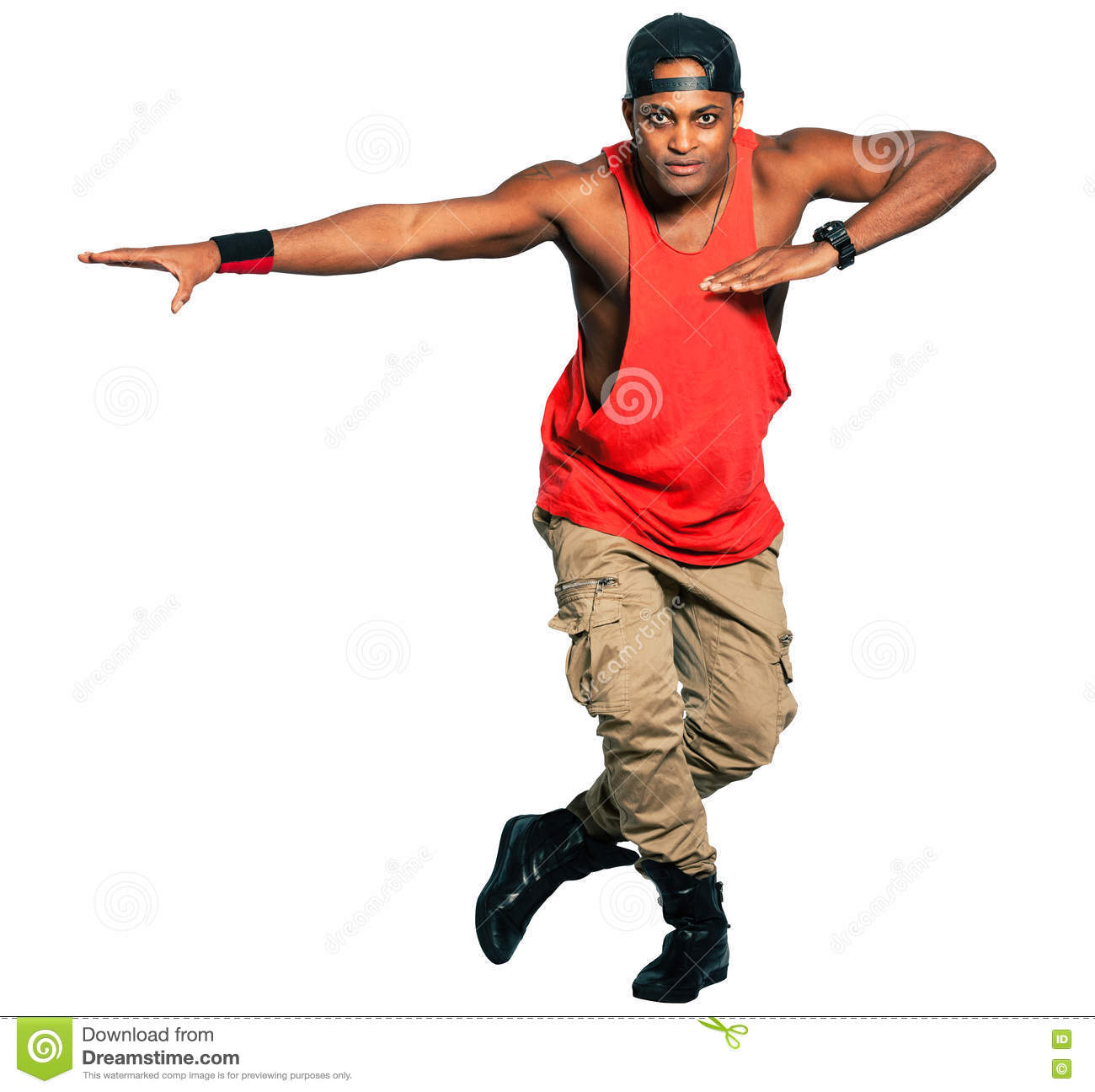 Dancer Black Man Full Isolated On White Background. PNG Available.