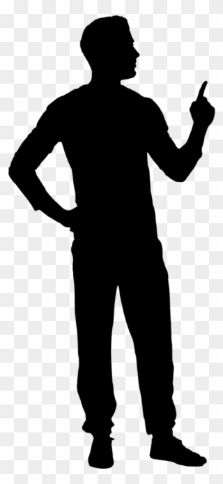Man Pointing Black Silhouette Clipart.