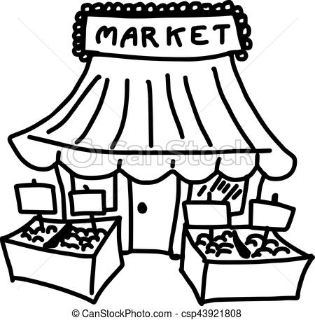 Clipart Of Market Black And White.