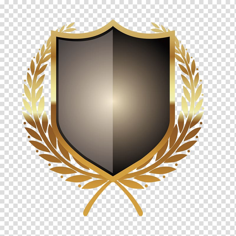 Black and brown shield illustration, Badge Icon, Metal.