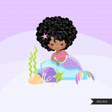 Afro black Mermaid clipart, dark skin black pastel mermaid.
