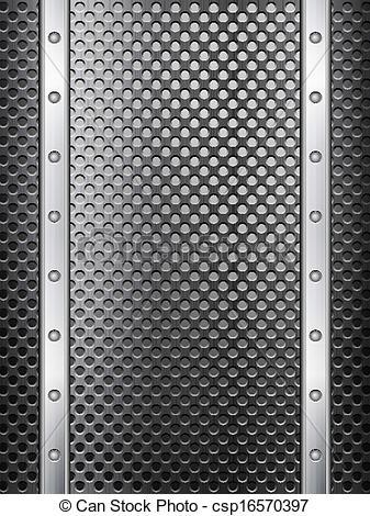 EPS Vectors of black metal grid background vertical.