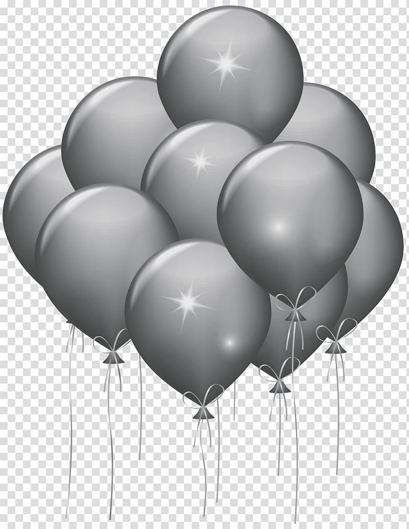 Gray balloons illustration, Balloon Party Gold Confetti.