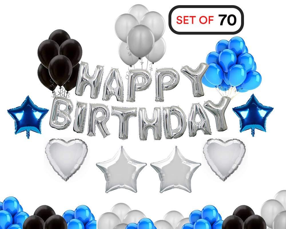 FESTIKO Happy Birthday Foil Balloon Silver+Pack of 50.