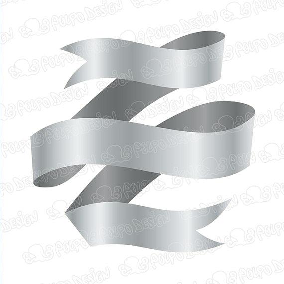 Silver Metallic Ribbon Clipart.
