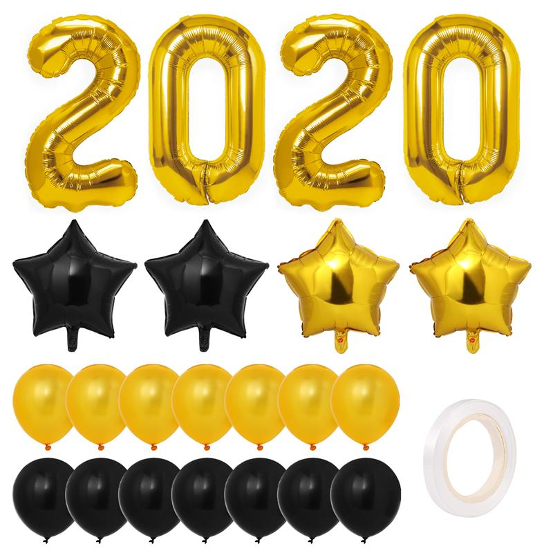 Toyvian 2020 New Year Party Balloon Decorations Set Metallic Eve Party  Balloons Kit For Christmas Graduation Newyear Party A35.