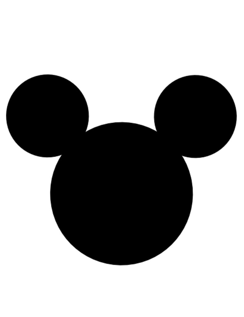 Silhouette Mickey Mouse Head.