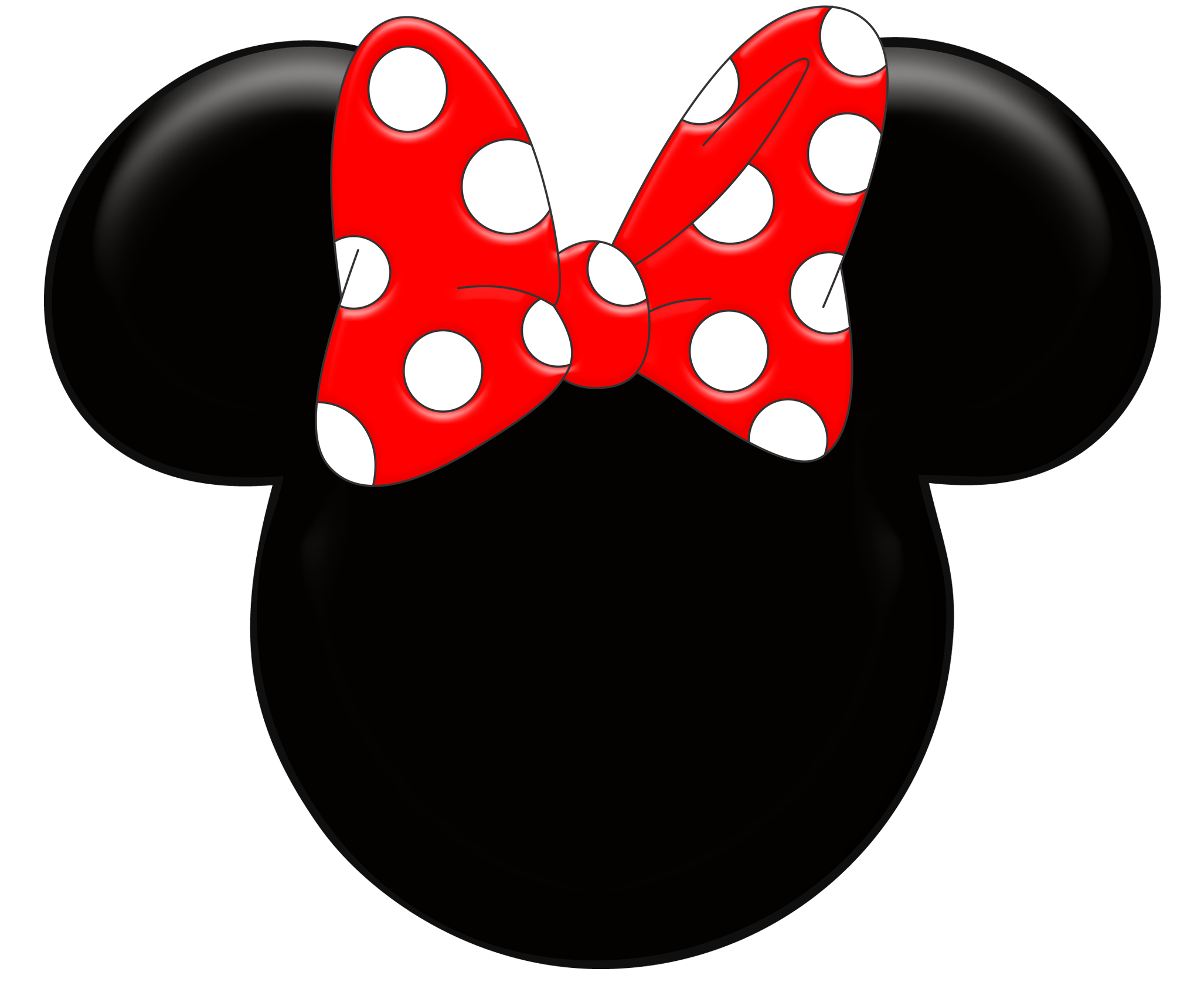 Minnie Mouse Silhouette With Red Bow.