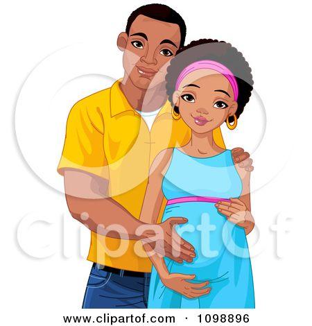 chinese mom, black dad and baby girl cartoon.