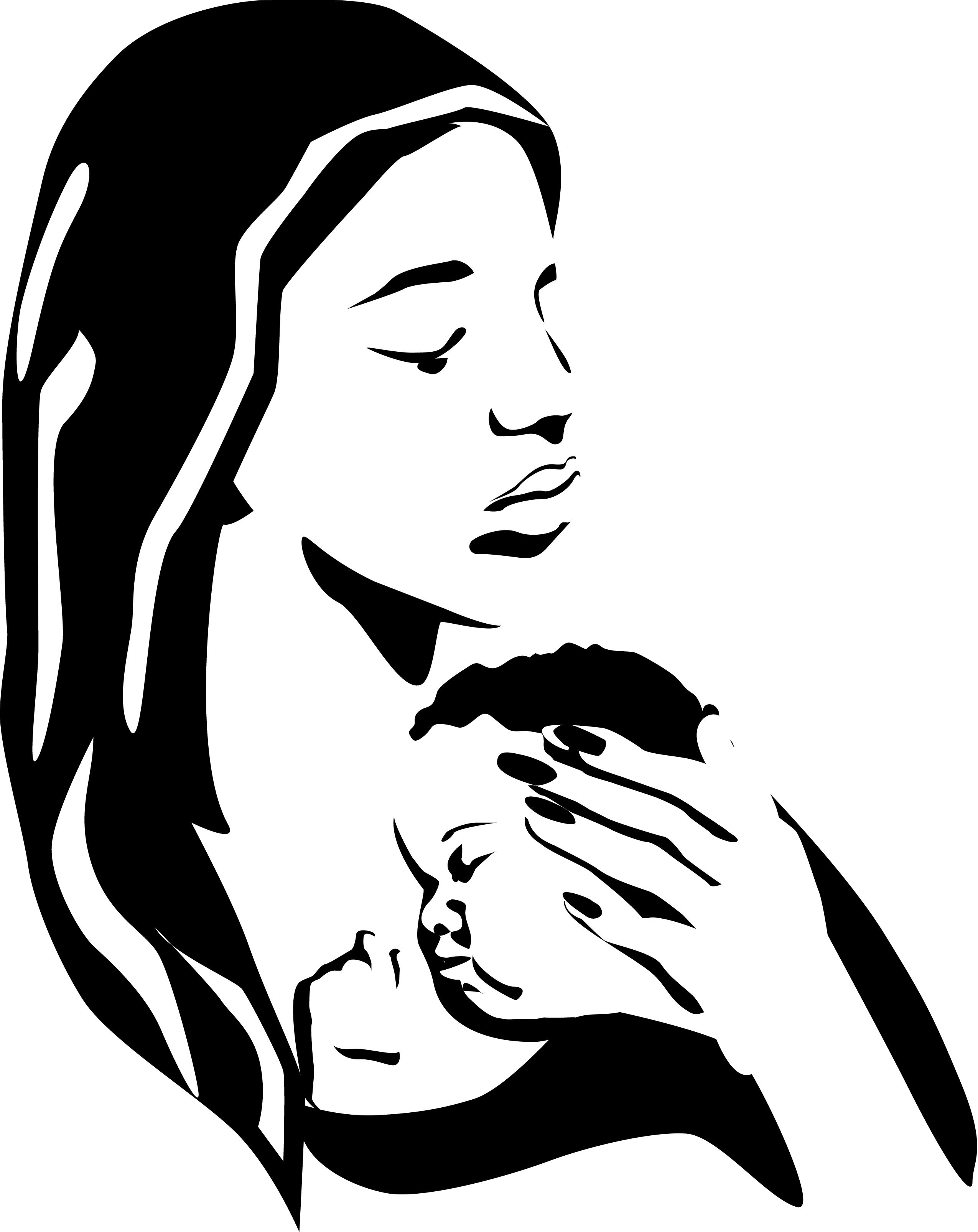Mother Holding Baby Silhouette Tattoo Mother holding baby.