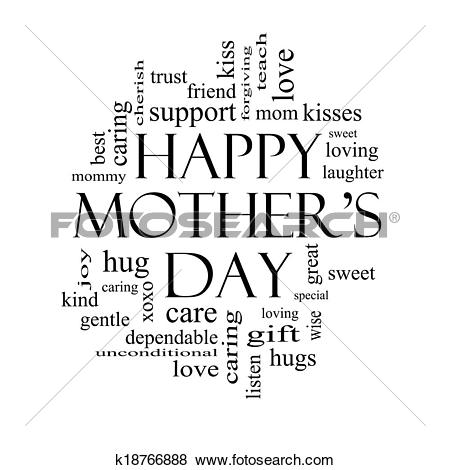 Pictures of Happy Mother's Day Word Cloud Concept in black and.
