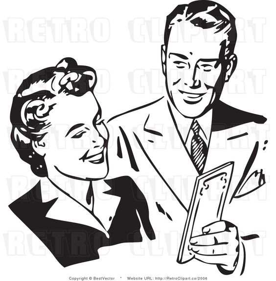 Retro Clip Art of a Happy Man and Woman Discussing Money.