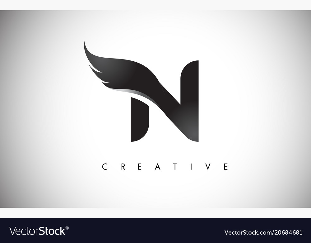 N letter wings logo design with black bird fly.