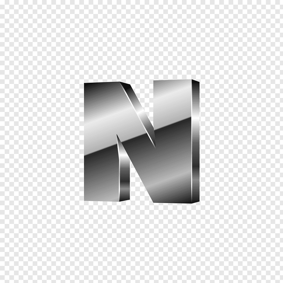 Gray N logo, Letter M Font, Silver black letters N free png.