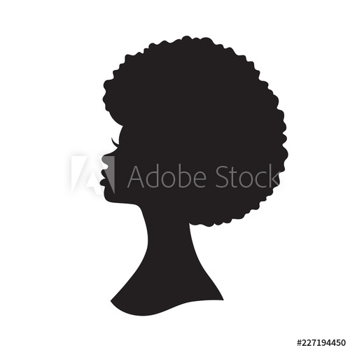 Vector illustration of black woman with afro hair silhouette.