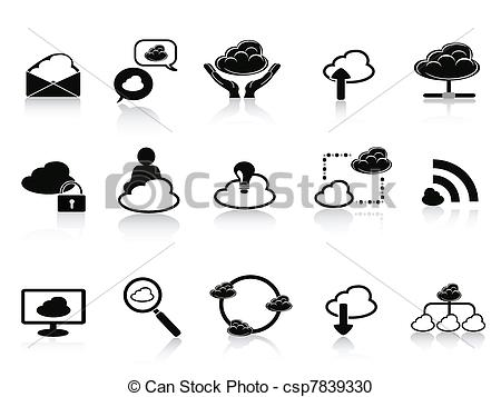 Vector Clipart of black cloud network icon set.