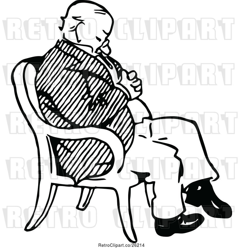 Vector Clip Art of Retro Old Guy Sleeping in a Chair by.