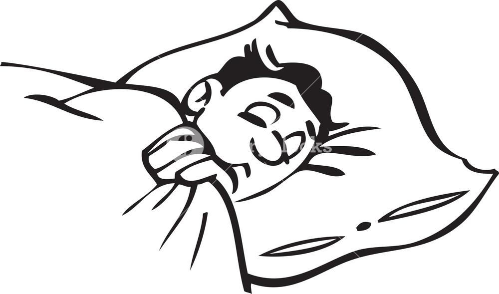 Illustration Of A Sleeping Man. Royalty.