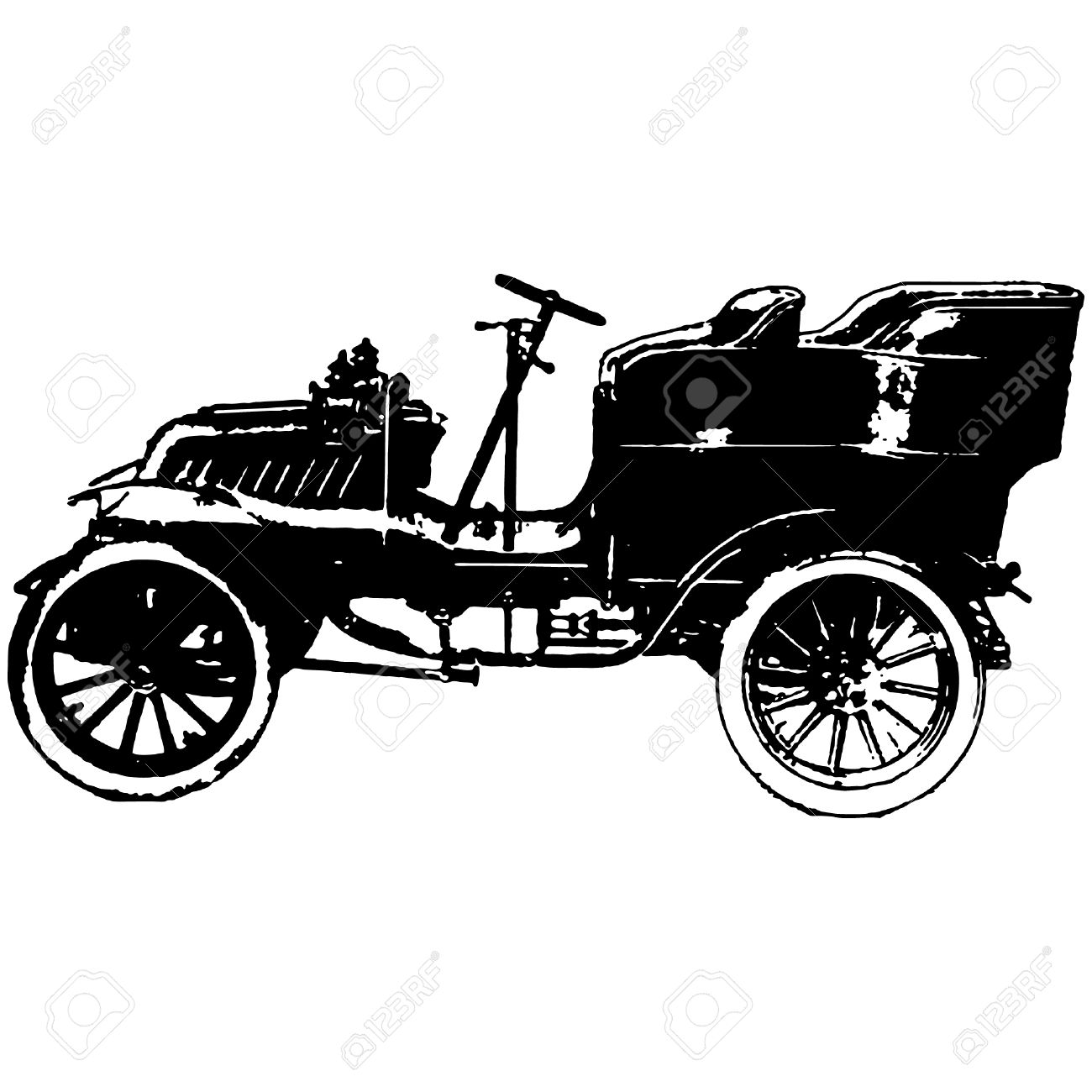 Old Timer Car Vector Illustration Royalty Free Cliparts, Vectors.