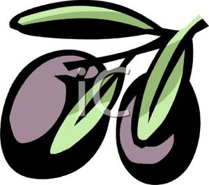 Black Olives Still on the Stem Clip Art Image.