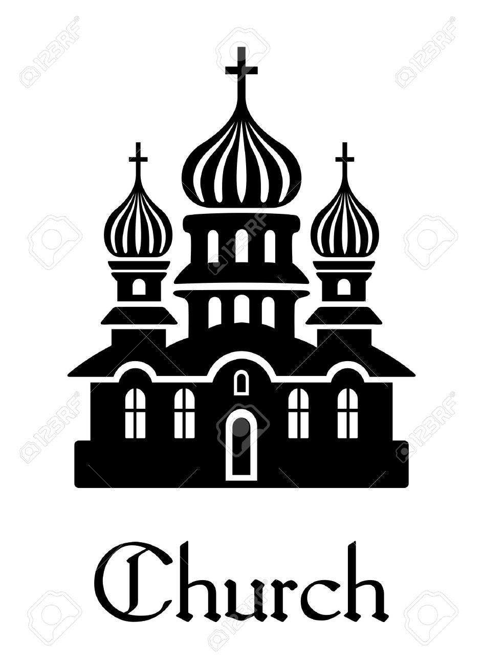 Black And White Silhouette Church Icon With Onion Shaped Domes.
