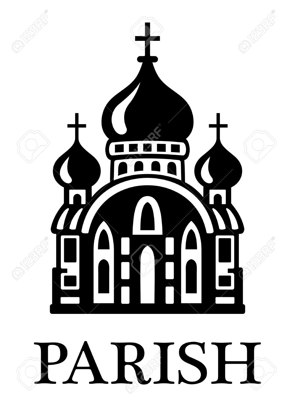 Black And White Parish Church Illustration With The Silhouette.