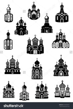 Black and white Parish church illustration with the silhouette of.