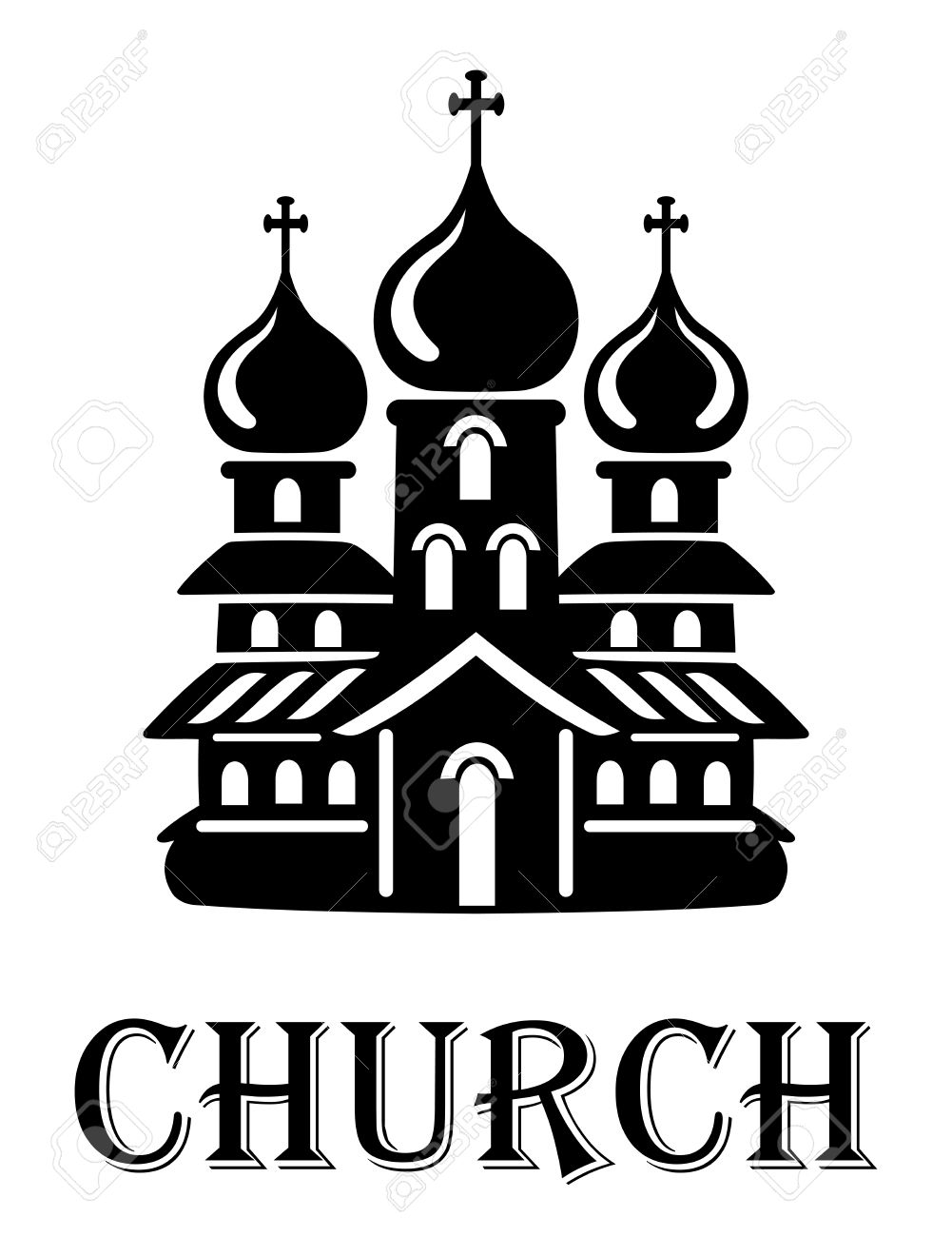 Black And White Church Icon With The Front Facade Of A Church.
