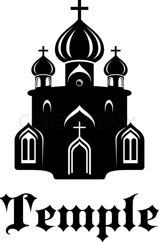 Black and white silhouette temple or church icon with three onion.
