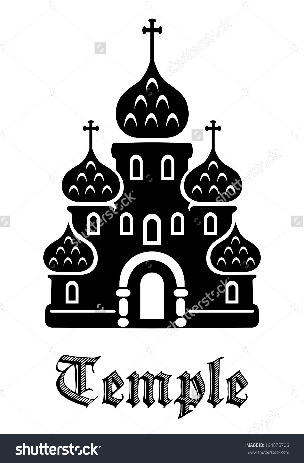 Black And White Architectural Icon Of A Temple With Tiered Ornate.