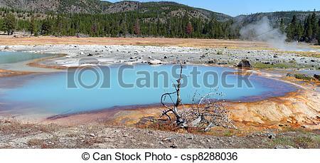 Stock Image of Yellowstone. Black Opal Pool. Panorama..