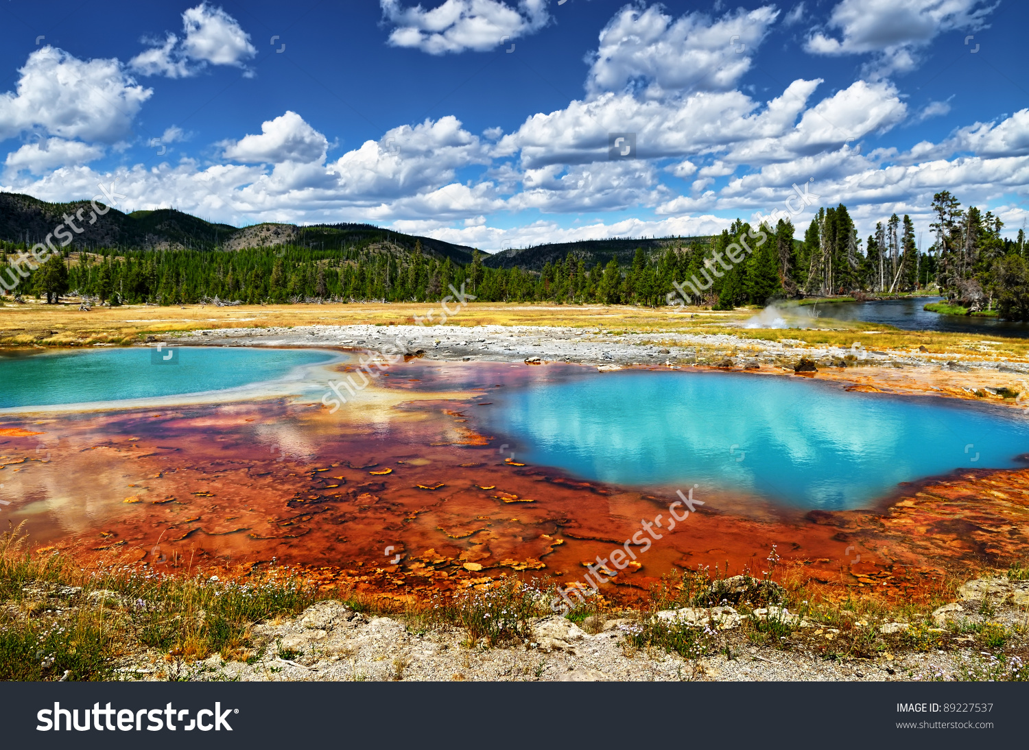 Black Opal Pool In Biscuit Basin, Yellowstone Stock Photo 89227537.