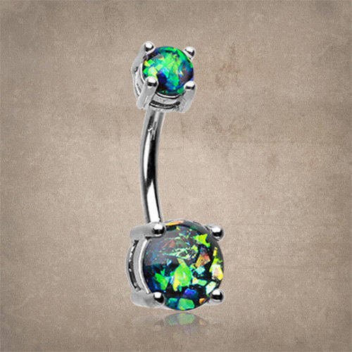 Black Opal Belly Button Ring Opal Belly Ring by MidnightsMojo.
