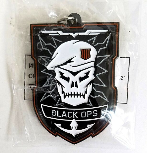 OFFICIAL CALL OF DUTY BLACK OPS 4 SHIELD SKULL LOGO KEYCHAIN.