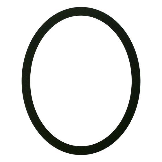 black oval frame.