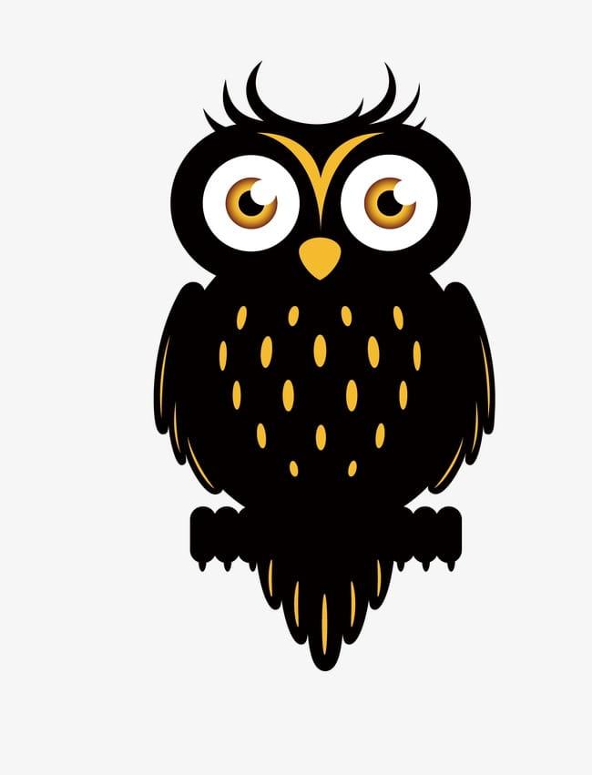 Black owl PNG clipart.