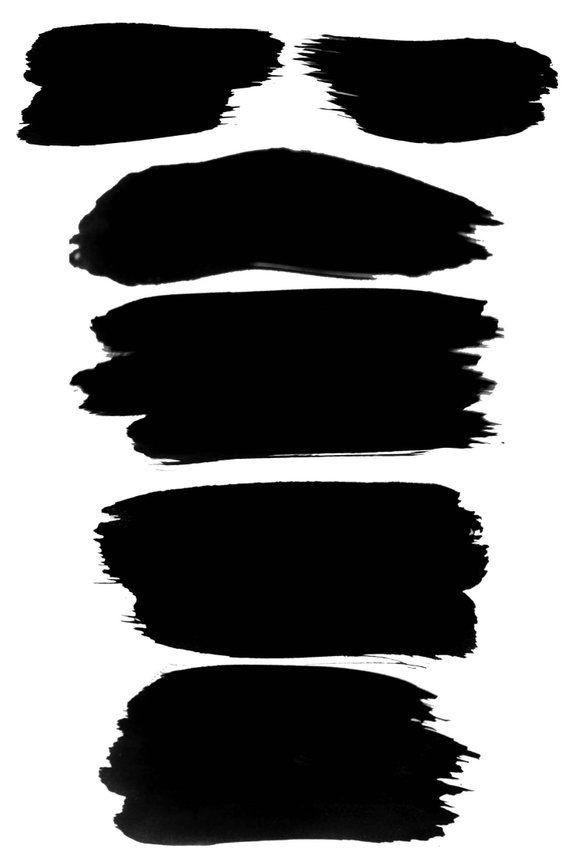 Black Watercolor Brush Strokes #8, Black Paint Clipart.