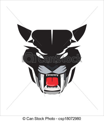Vector of staring black panther head icon.